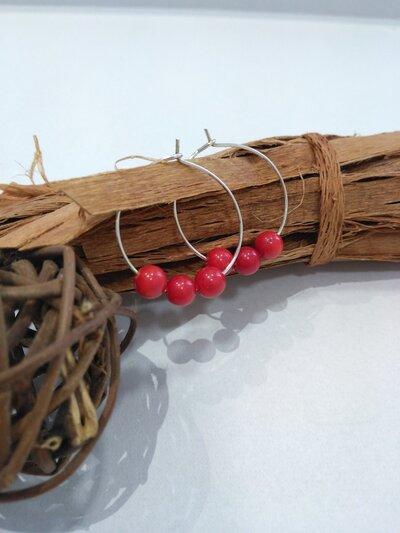 Orecchini corallo bamboo orecchini cerchio orecchini donna orecchini fatti a mano