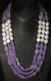 Collana ametista e perle con chiusura in argento 925