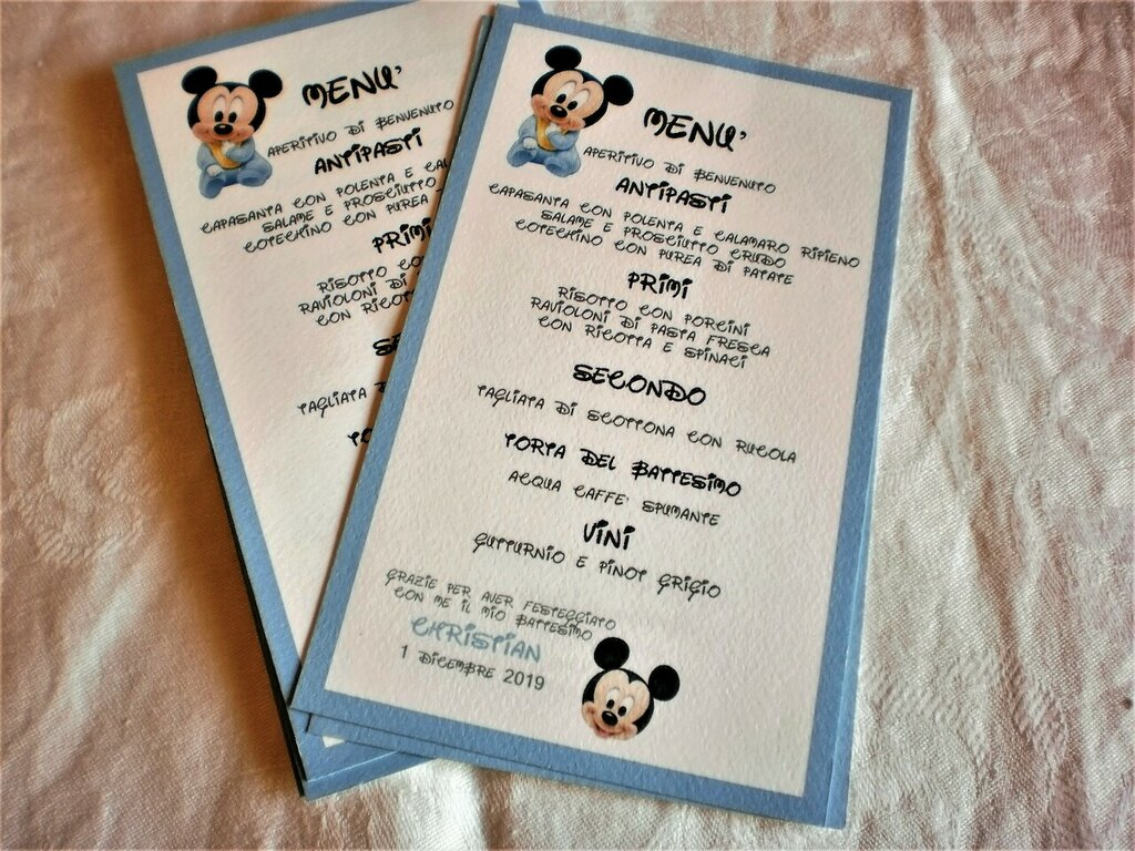 Menu' Battesimo Mickey Mouse/Minnie