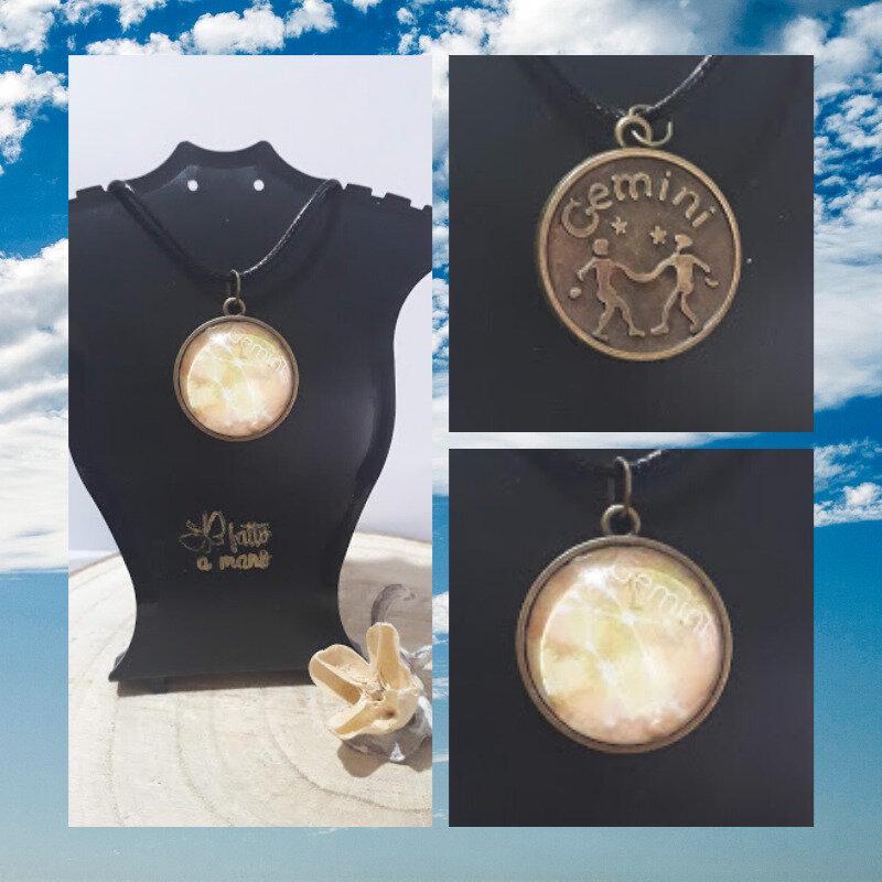 Collane con ciondolo dei Segni zodiacali d'Aria (Gemelli, Bilancia e Acquario) UNISEX