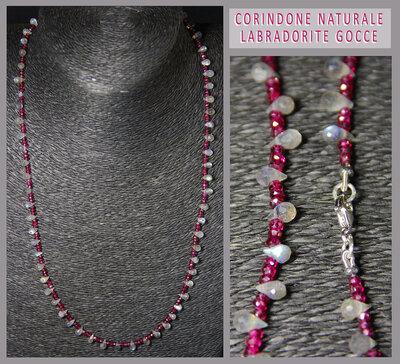 Collana in corindone naturale rosso con gocce briolette di labradorite e chiusura in argento 925