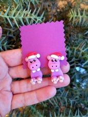 Orecchini da lobo natalizi con ippopotamo in fimo, regalo bambina per amanti degli animali, gioielli bambina, gioielli animali in fimo