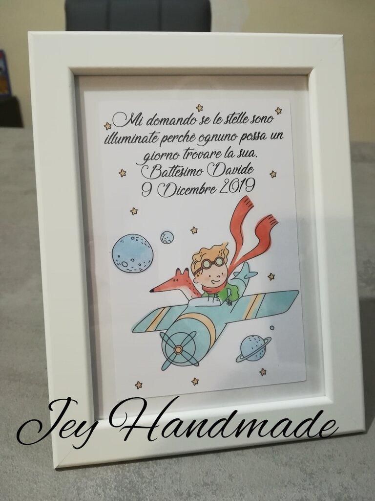 Quadro quadretto segnaposto nascita battesimo piccolo principe idea regalo