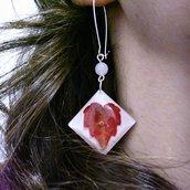 Orecchini lunghi donna orecchini edera rossa orecchini fatti a mano pendenti donna gioielli donna