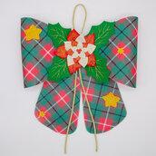 Fuoriporta fiocco scozzese natalizio, 32 x 26 cm, una stella gratis