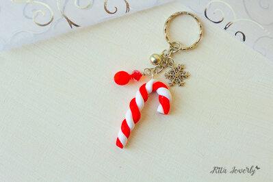 Portachiavi bastoncini di zucchero in fimo, idee regalo natale, regalo di natale, idee regalo ragazza, idee regalo bambina,  idee regalo kawaii, kawaii, fimo kawaii, bomboniere,