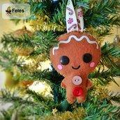 Decoro di Natale Biscottyno Natalyno - decoro kawaii per albero, chiavi e borsa a forma di biscotto natalizio