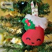 Decoro di Natale Calzettyna Natalyna - decoro kawaii per albero, chiavi e borsa a forma di calza natalizia