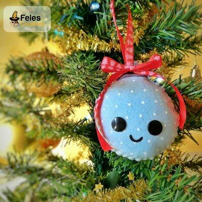Decoro di Natale Pallyna Natalyna - decoro kawaii per albero, chiavi e borsa a forma di pallina di Natale