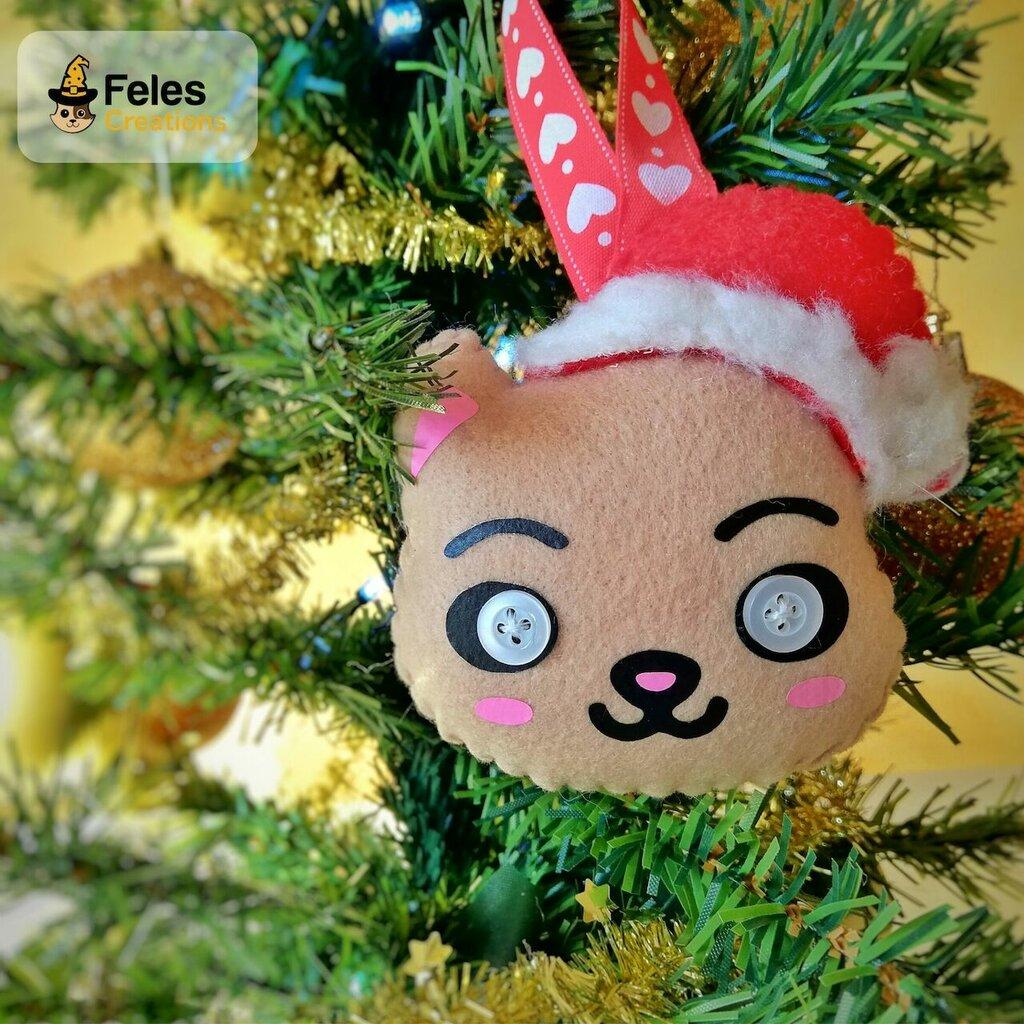 """Decoro di Natale """"Gattyno Natalyno"""" - decoro kawaii per albero, chiavi e borsa a forma di gatto Babbo Natale"""