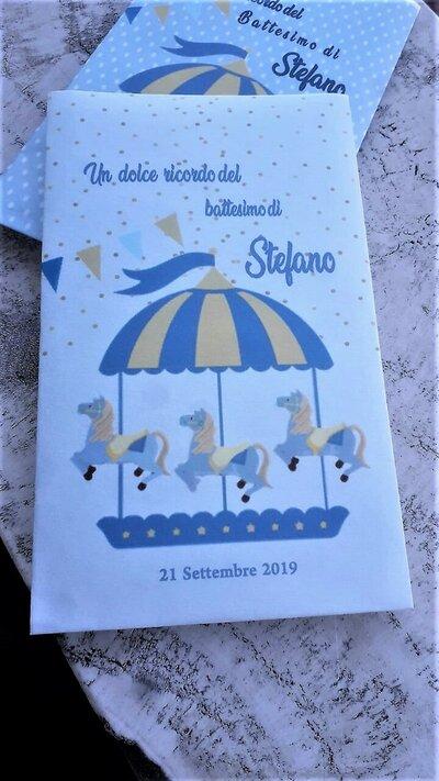 """20 sacchetti carta personalizzati battesimo tema """"carosello"""""""