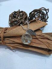 Ciondolo soffioni ciondolo fatto a mano collana lunga con ciondolo tarassaco ciondolo resina trasparente chiama angeli