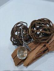 Collana ciondolo fatto a mano soffioni ciondolo resina collana lunga sfere charm foglia sfere botaniche