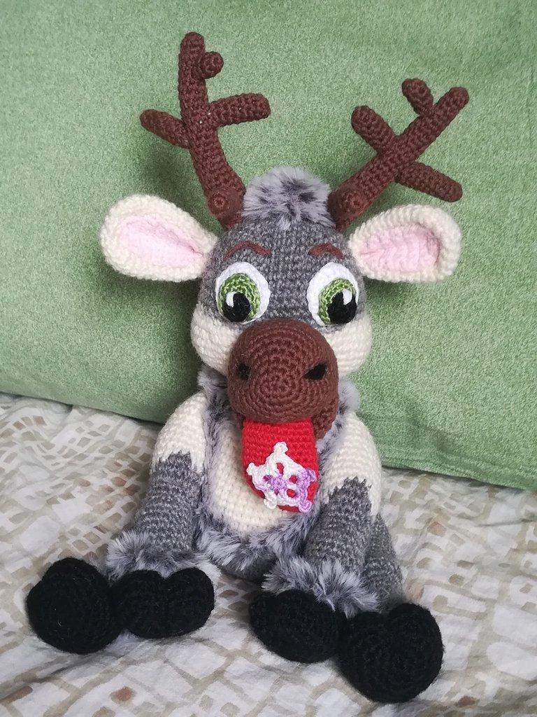 Renna Sven 2 pupazzo peluche § Hand Knitted Crochet Toys