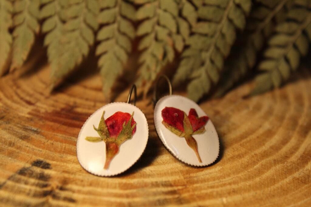 orecchini romantici fondo bianco e rosa vera