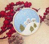 Quadretto Addobbo Bianco Natale