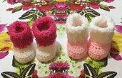 2 paia scarpette scarpine crochet 🧶 neonato bebè
