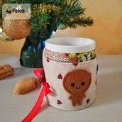 """Copritazza di Natale """"Biscottyno e Calzettyna Natalyni"""" - decoro di Natale kawaii per per tazza"""