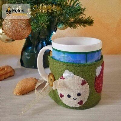 """Copritazza di Natale """"Pallyna Natalyna"""" - decoro di Natale kawaii per per tazza"""