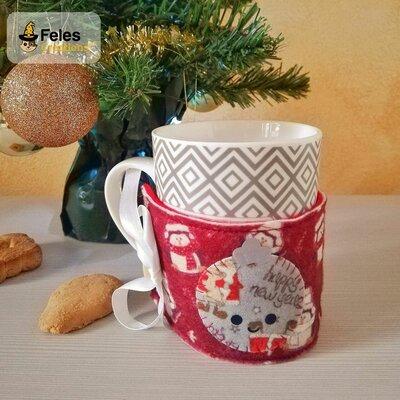 """Copritazza di Natale """"Pallyna e Gattyno Natalyni"""" - decoro di Natale kawaii per per tazza"""