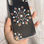 Cover per telefono di silicone trasparente con cartoncino dipinto a mano con mandala