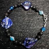 Bracciale in agata blu con madreperla e lava