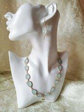 Parure collana e orecchini, gioielli in cristallo e zirconi, parure verde, regalo per lei, regalo di natale