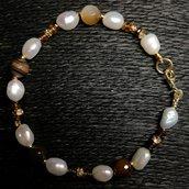 Bracciale agata, perle e tormaline.