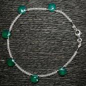 Bracciale in agata verde e cristallo di rocca