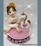 Decorazione/Cake Topper di zucchero  Bambina e Unicorno