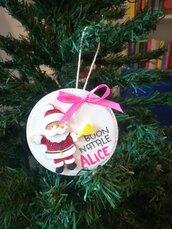 Palline di Natale con nome ❤️ Personalizzate. Idea regalo scuola. Babbo glitter