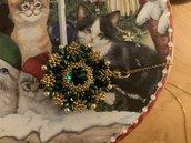 Collana con ciondolo -  rivoli , bicono e perle Swarovski, argento 925, perline - Natale -oro -verde - Christmas