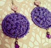 Orecchini fiore 3D viola