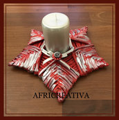 Porta candela rosso-argento