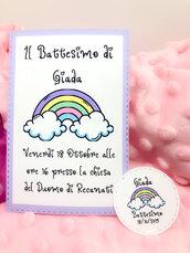 Invito Battesimo Comunione o compleanno, invito festa nascita arcobaleno unicorno