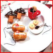 """Set di 3 paia di orecchini """" Babà Biscotti fungo Tazza cioccolato macine """" dolcetti fimo"""