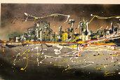 Quadro skyline New York drip painting
