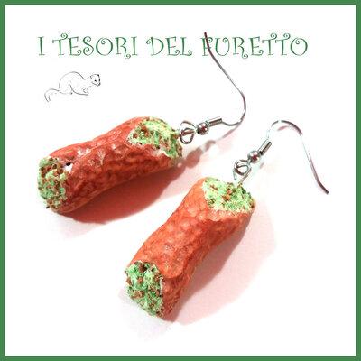 """Orecchini """" cannolo siciliano """" dolci siciliani bijoux gioielli idea regalo miniatura cibo"""
