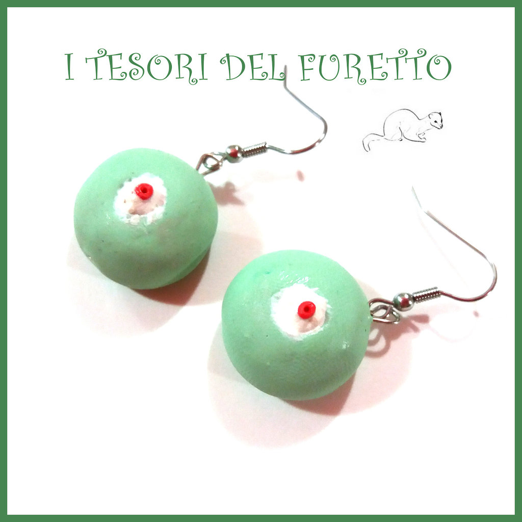 orecchini Cassata siciliana cassatina dolcetti fimo cernit kawaii idea regalo miniature cibo