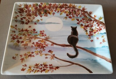 Vuota tasche ,vassoio in porcellana dipinto a mano