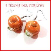 """orecchini """" Brioche col tuppo """" fimo cernit premo dolce siciliano idea regalo miniatura cibo.dolcetti"""
