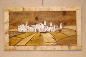 Quadro in legno 3D paesaggio di campagna con cornice