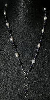 Collana rosario in argento 925, perle, pietra lavica e ametista