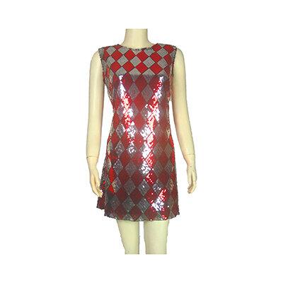 mini abito giromanica aderente in paillettes argento e rosso, Taglia L(46)