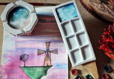 Set Acquerelli | Poggia-pennelli & Palette | Ceramica a freddo | Chrysalism