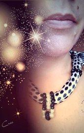 foulard-gioiello pois bianco e nero