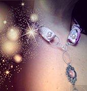 Foulard-gioiello goccia rosa