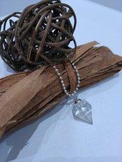 Ciondolo diamante resina fatto a mano foglia argento glitter collana lunga con ciondolo resina collana donna