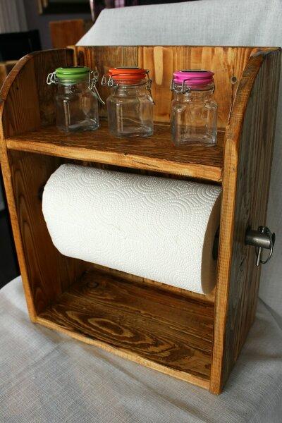 Mensola in legno porta spezie e rotolo da cucina