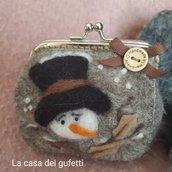 Borsellino portaspiccioli in panno lana con pupazzo di neve in stile country